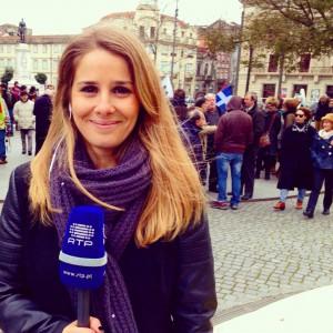 Primeira reportagem de Diana Bouça-Nova na RTP   Foto: Facebook oficial de Diana Bouça-Nova